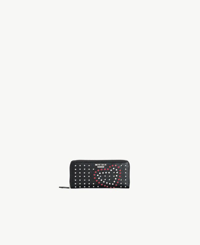 Studded wallet Black Heart Embroidery Woman RS8TFS-01