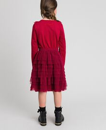 Pleated flounce tulle skirt Ruby Wine Red Child 192GJ2113-03