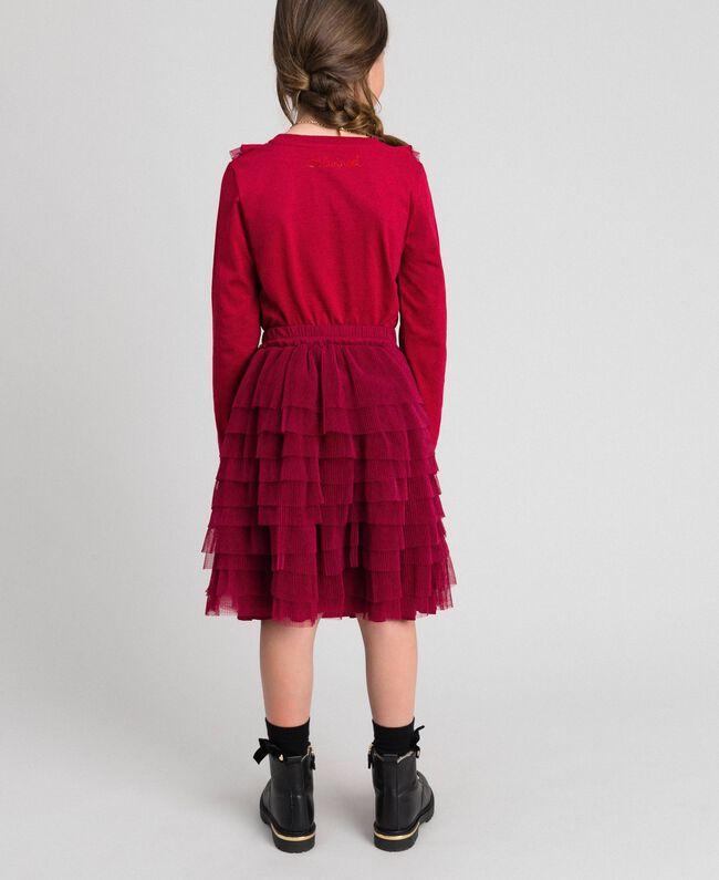 Tüllrock mit plissierten Volants Ruby Wine Rot Kind 192GJ2113-03