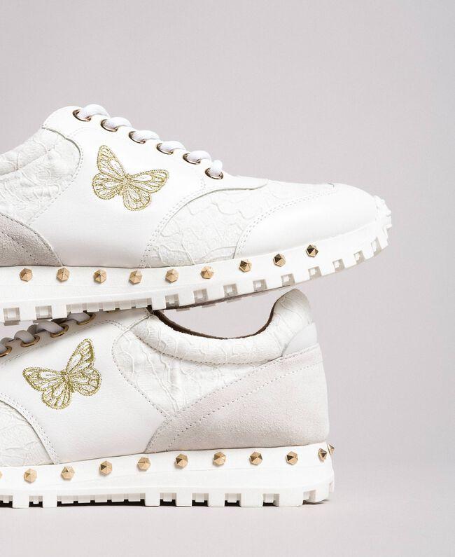 Sneakers aus Spitze und Wildleder Weiß Frau 191TCP026-01