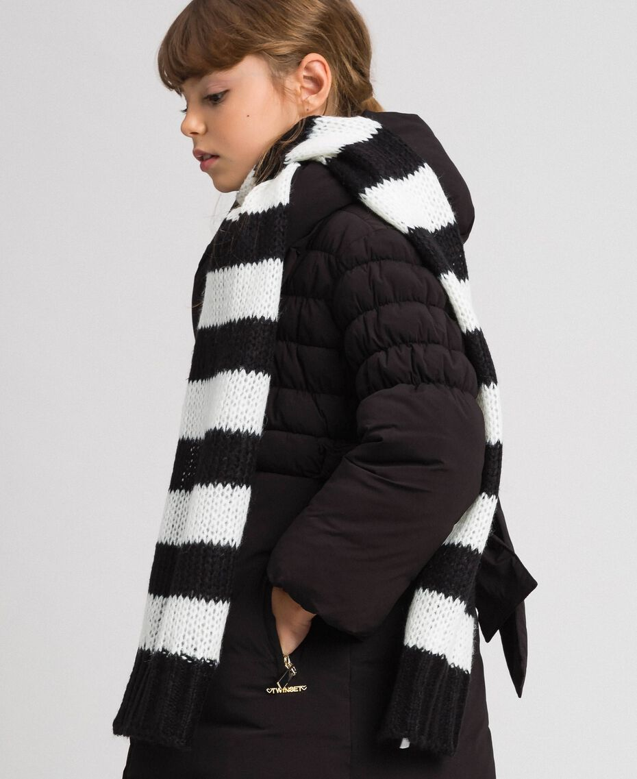 Two-tone striped mohair scarf Black Striped Jacquard / Off White Child 192GJ4223-0S