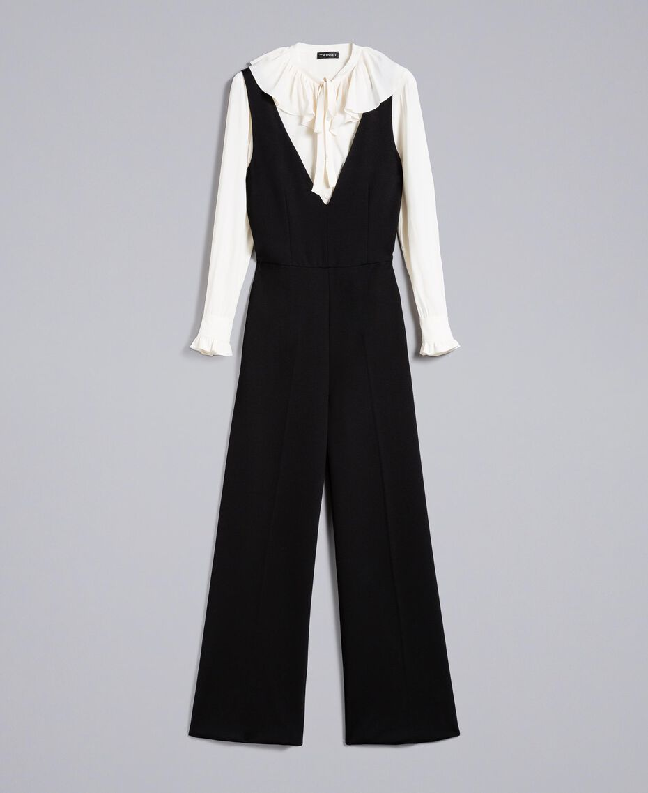 Combinaison sans manches avec chemise en soie mélangée Bicolore Noir / Blanc Neige Femme PA8212-0S