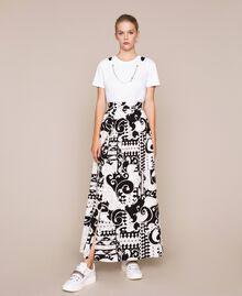 Jupe longue en toile imprimée Imprimé Liberty Blanc / Noir Femme 201ST213A-01