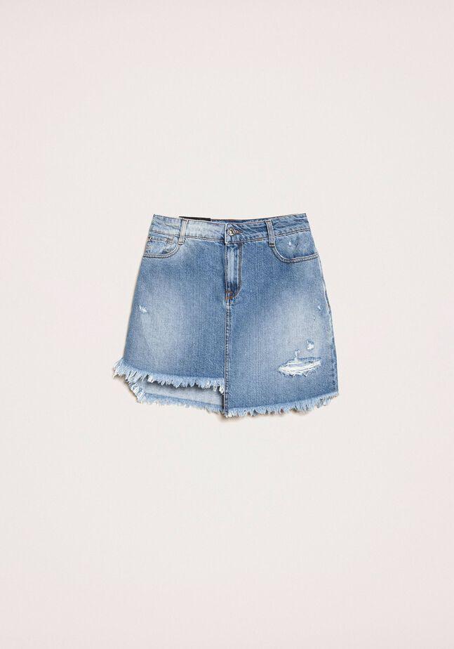 Mini-jupe asymétrique en jean
