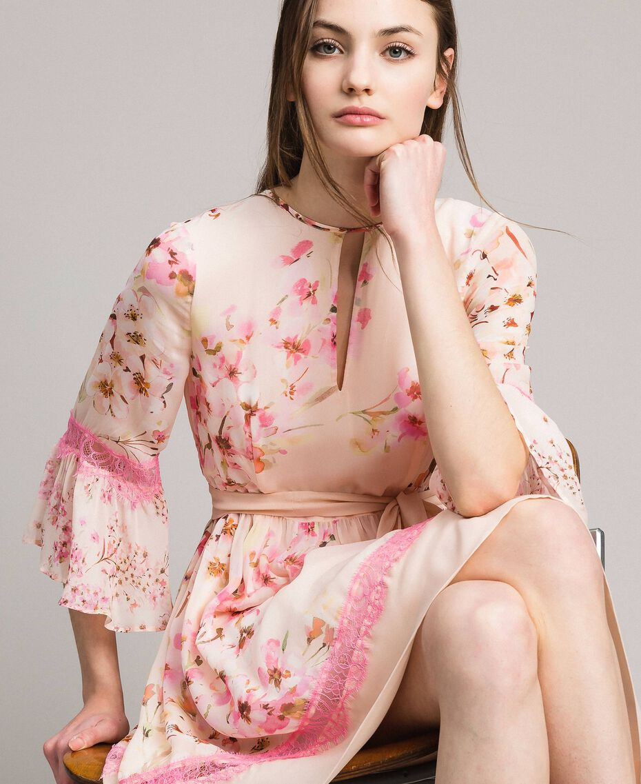 """Robe en georgette à imprimé floral Imprimé Rose """"Bouton De Rose / Peach Mix"""" Femme 191TP2716-01"""