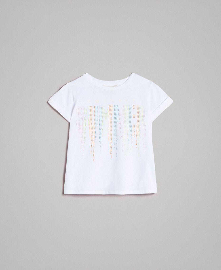 T-shirt en coton avec strass multicolores Blanc Enfant 191GJ2770-01