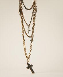 Collier multichaîne avec croix strassées Noir Diamant Femme 202TA4316-01