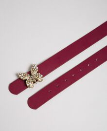 Leather belt with butterfly, regular Beet Red Woman 192TA4307-03