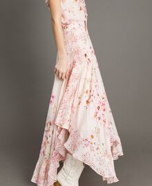 "Floral print georgette long skirt ""Blossom / Peach Mix"" Pink Print Woman 191TP2719-03"