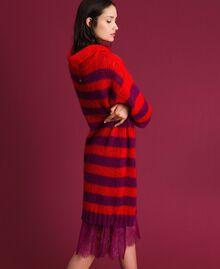 Gestreiftes Kleid aus Mohair mit Unterkleid Streifen Rote-Bete-Rot / Granatapfel Frau 192TP3270-02