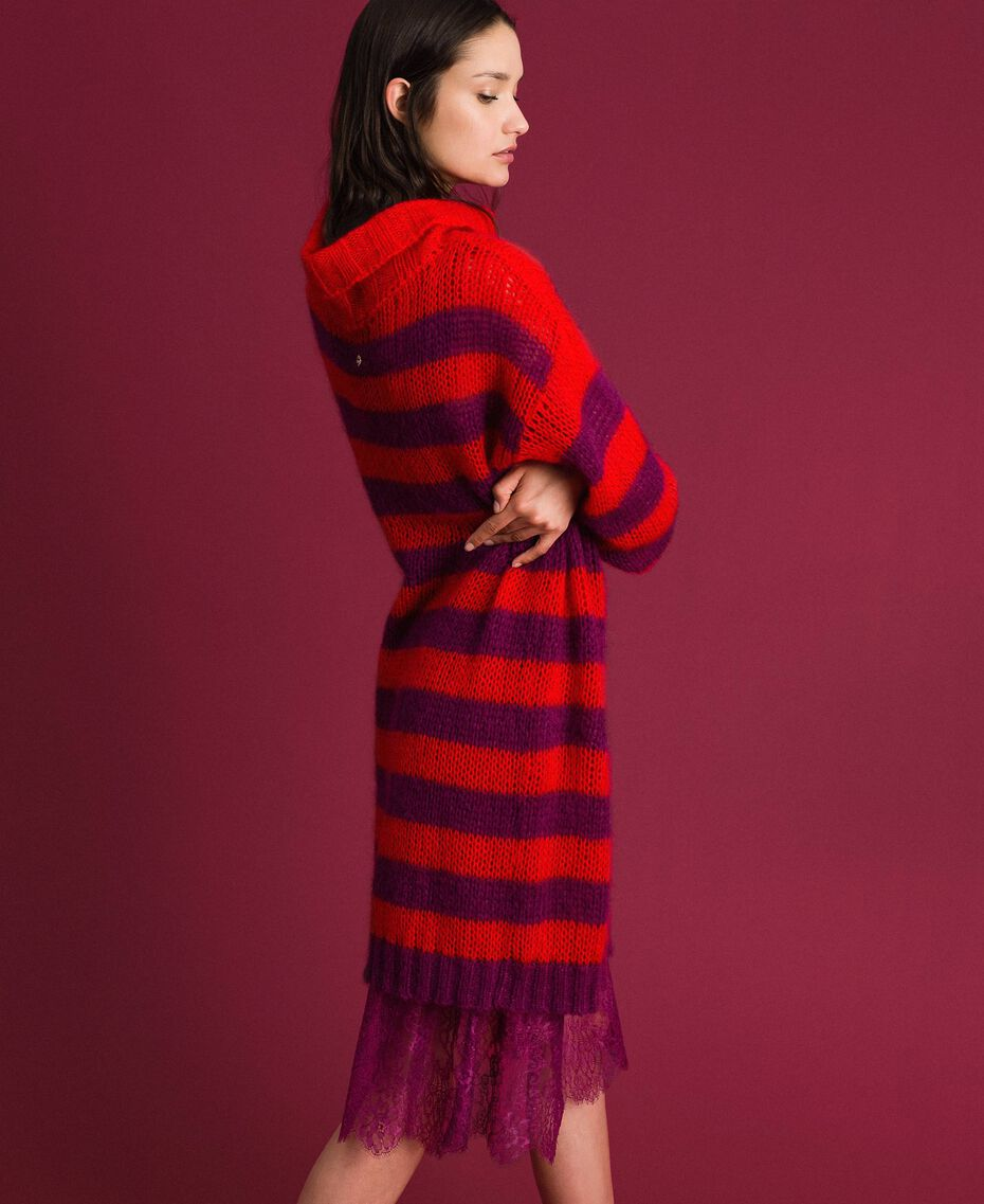 Striped mohair dress with slip Beet Red / Pomegranate Stripe Woman 192TP3270-02