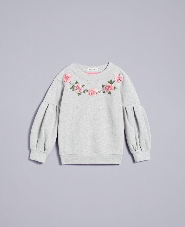 Embroidered stretch viscose sweatshirt Light Gray Mélange Child GA82SA-01