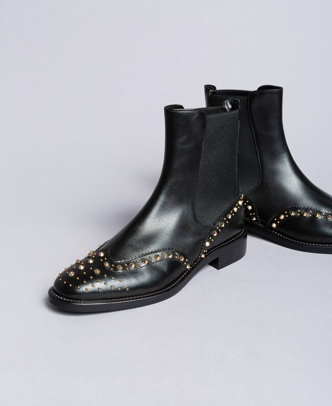 eedded1837c45 Bottines Beatles en cuir avec clous Noir Femme CA8PKQ-01