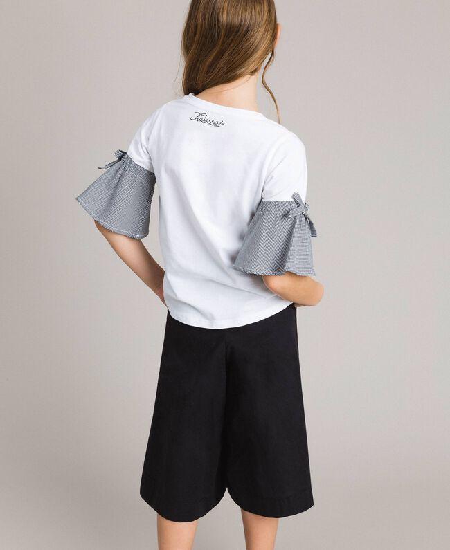 T-shirt en jersey avec volants en vichy Bicolore Blanc Optique / Vichy Enfant 191GJ2731-04