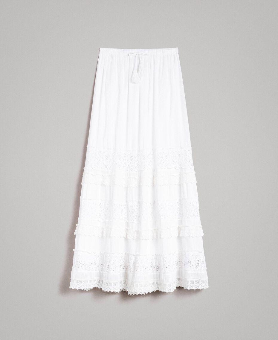 Falda larga con encaje y bordados Hueso Mujer 191MT2272-0S