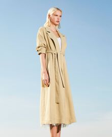 "Linen blend trench coat ""Cuban Sand"" Pink Woman 211TT2580-03"