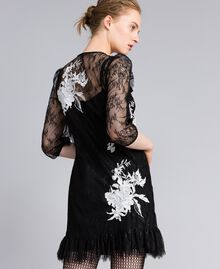 Kurzes Kleid aus Valenciennesspitze Schwarz Frau PA824P-03