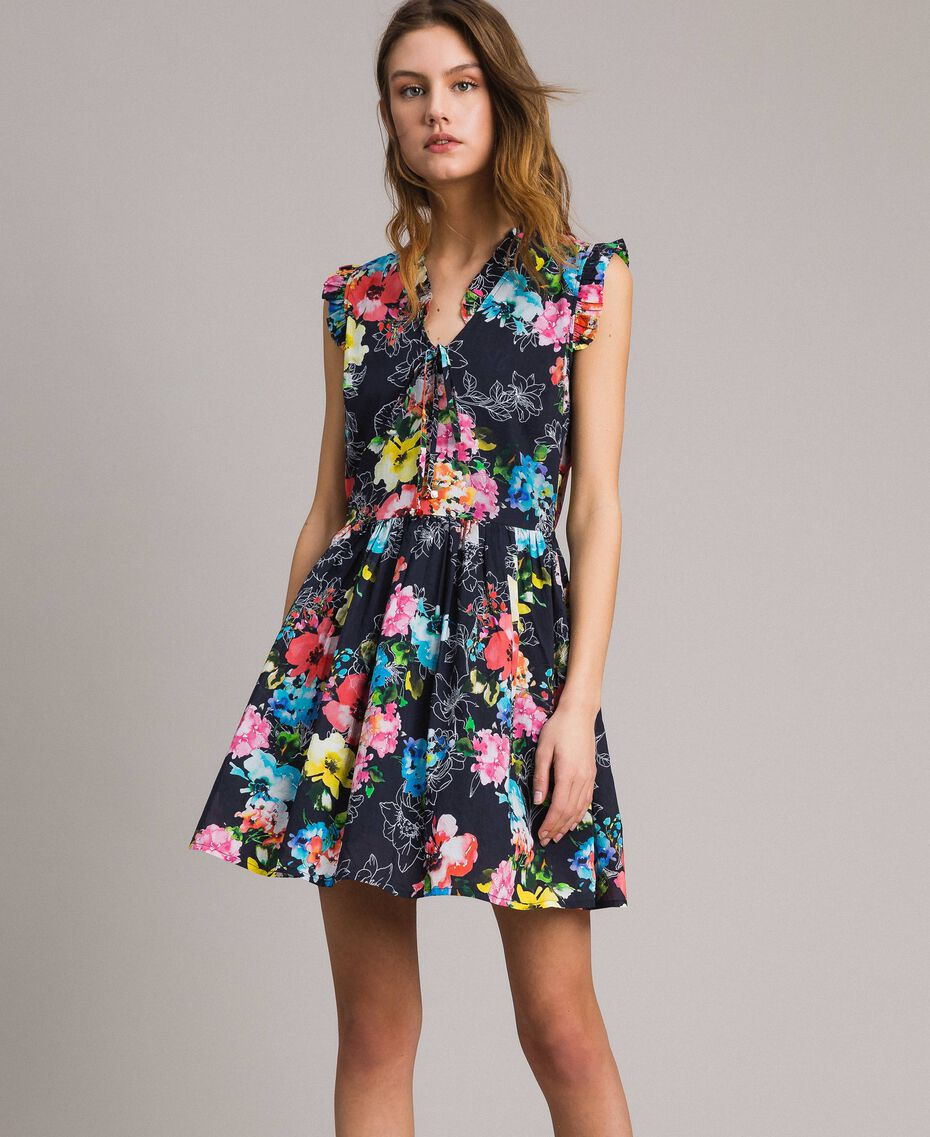 Kleid mit Blumenprint und geraffter Taille All Over Black Multicolour Flowers Motiv Frau 191MT2295-02