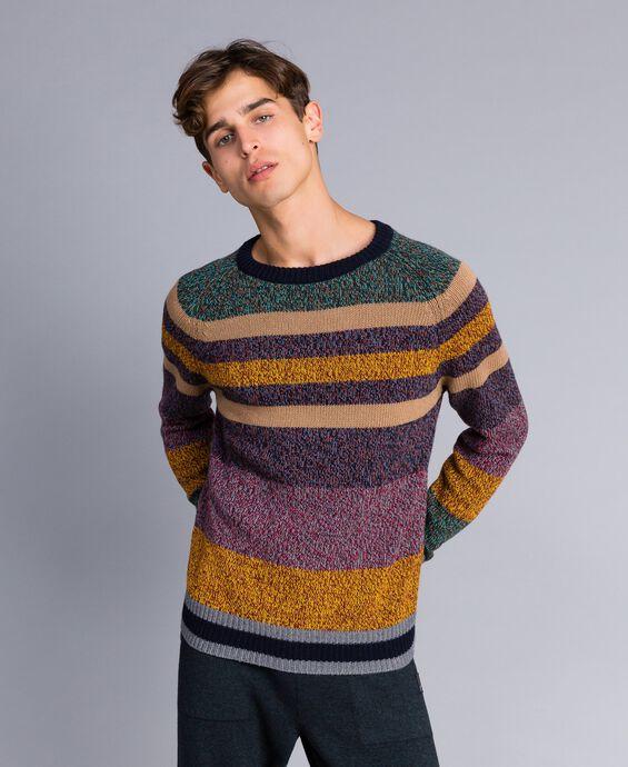 Maglia in misto lana color block