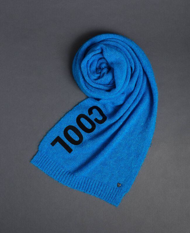 Knit scarf with lettering print Curaçao Blue Woman 192MO5304-01