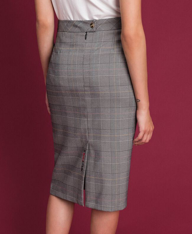 Mid-length Glen plaid skirt Prince of Wales Woman 192MP2283-01