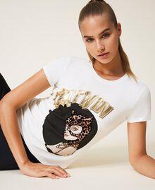 Camiseta con estampado Marfil Mujer 202LL2MCC-01