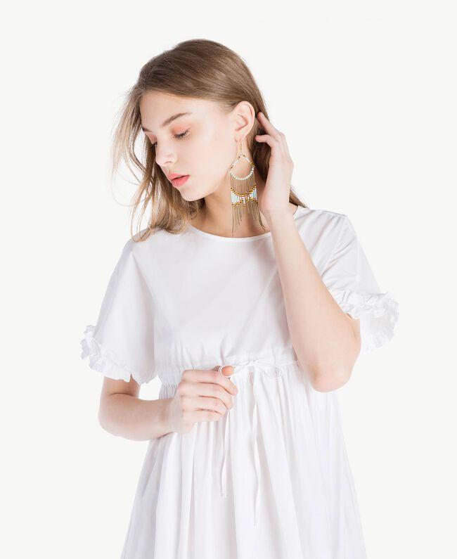 Kleid aus Popeline Weiß Frau TS821A-04