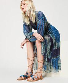 """Sandali in pelle con pompon e charms Multicolor """"Nautical Blue"""" / Blu """"Indaco"""" / Nero Donna 211TCT180-0S"""