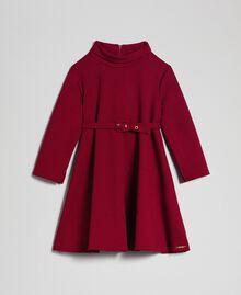 Vestido de crepé con cinturón Rojo Vino rubí Niño 192GJ2452-0S