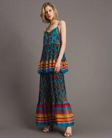 Robe longue en chiffon à imprimé motif floral Multicolore Chiné / Rayures Bleu Céramique Femme 191TT2361-02