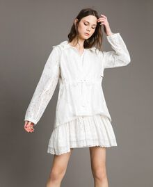 Waxed fabric and lace parka White Woman 191MT2100-02