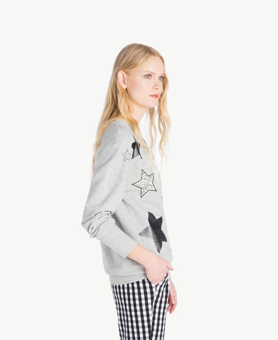 Sweatshirt mit Sternen Grau Melange Frau JS82H2-02