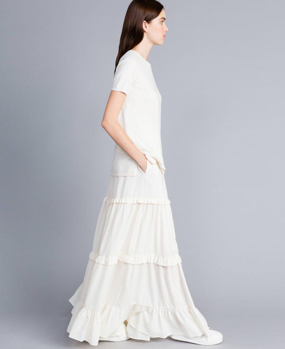 Crêpe de Chine long skirt Mother Of Pearl Woman SA82H7-02