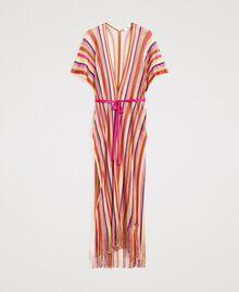 """Lurex gestreifter Strick-Poncho Streifen Multicolour """"Psychedelic Pink"""" Fuchsie Frau 191LB4AMM-0S"""