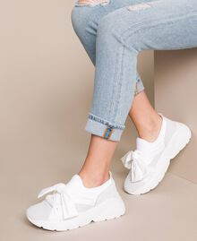 Fabric sneakers with knot White Woman 201TCT110-0S