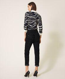 Pinstripe effect regular jeans Black Denim Woman 202MP2231-03