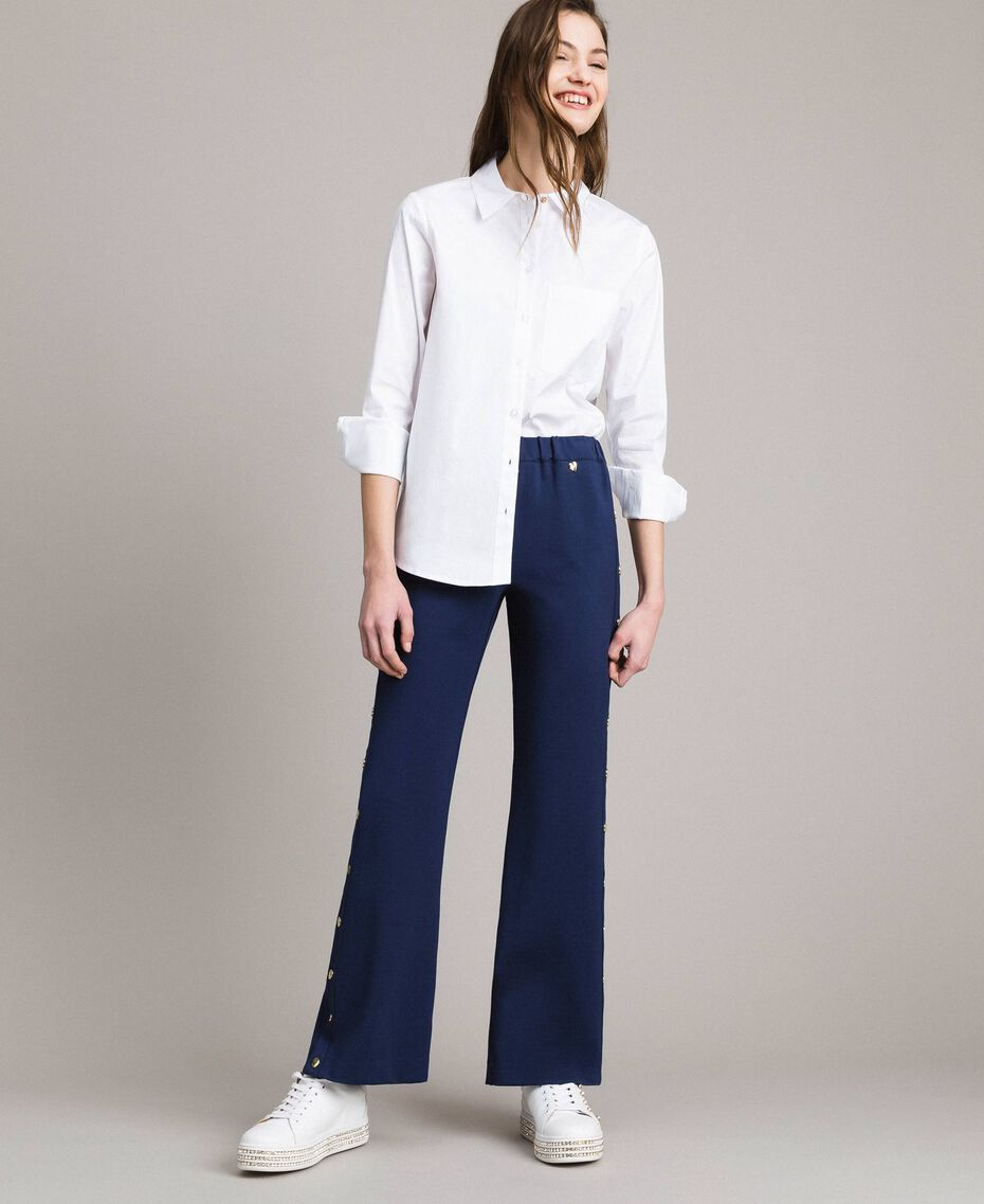 Drainpipe trousers with side slits and buttons Indigo Woman 191MP2155-02