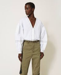 Poplin blouse with studs