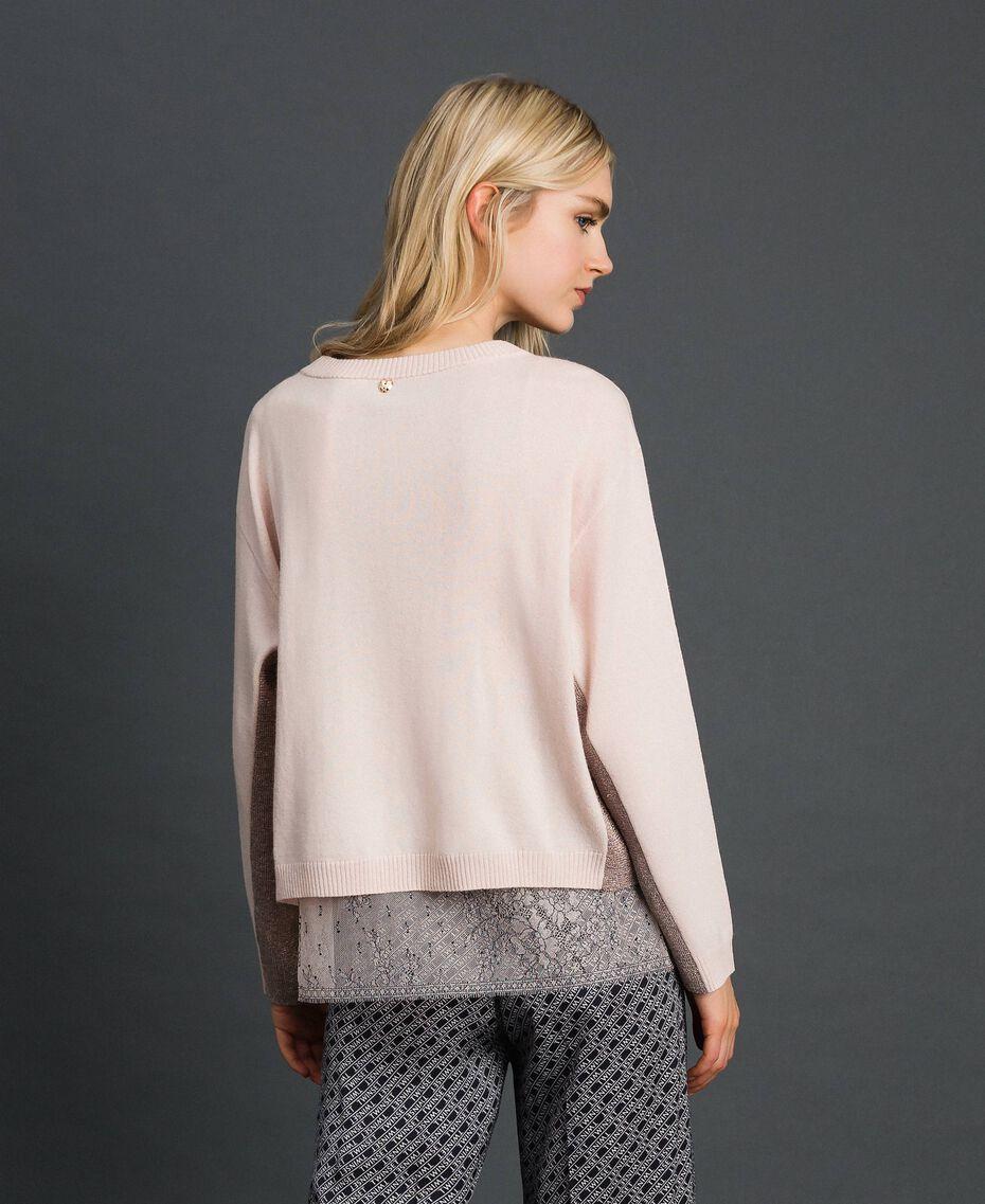 Kastiger Pullover mit Unterhemd Blütenknospenrosa Frau 192MP3101-05