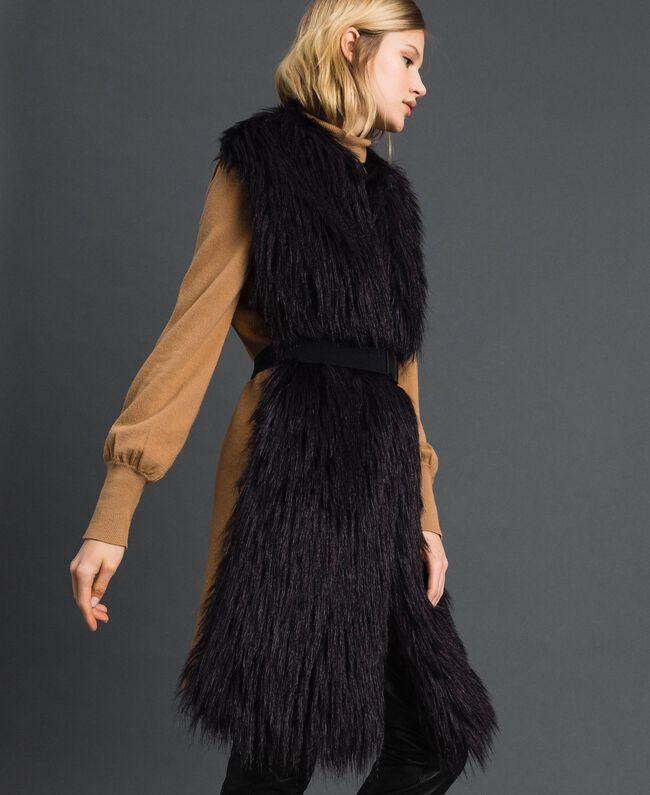 Gilet long en fausse fourrure et drap Noir / Beige «Séquoia» Femme 192ST2031-02