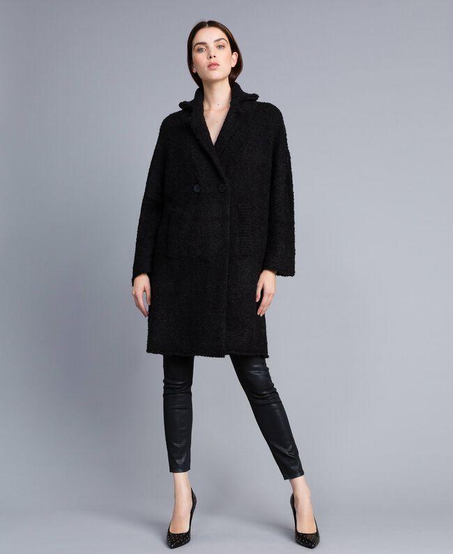 Bouclé coat Black Woman SA83CA-01