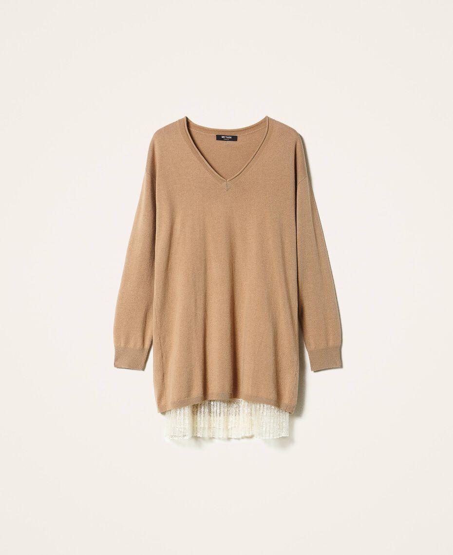 Vestido de lana mixta con plisados Bicolor Beige «Duna» / Blanco Nata Mujer 202MP3091-0S