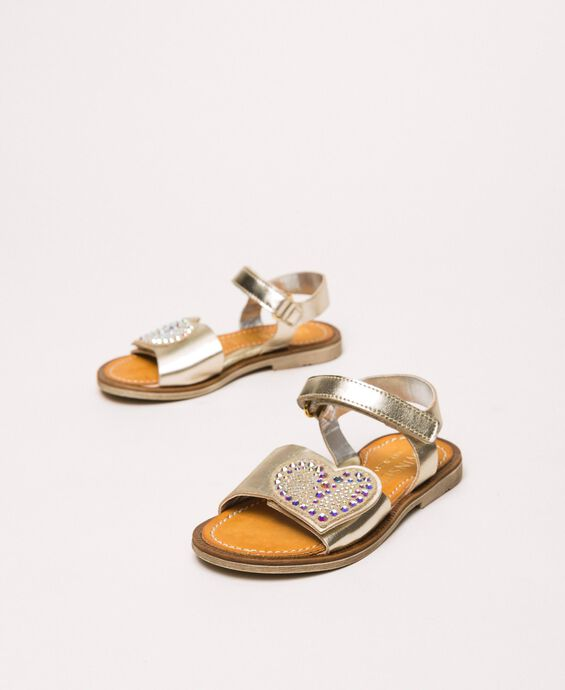 Laminated faux leather sandals with heart