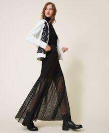 Falda larga con tul Negro Mujer 202LI2NMM-01