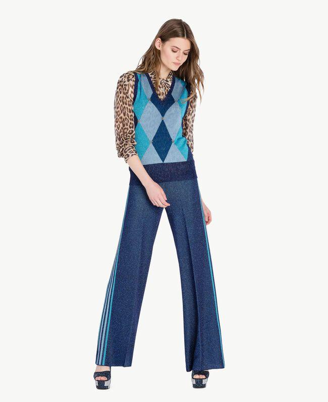 Lurex trousers Royal Blue Lurex Woman PS83ZE-05