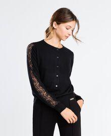 Viscose blend cardigan with lace Black Woman LA8QBB-0S