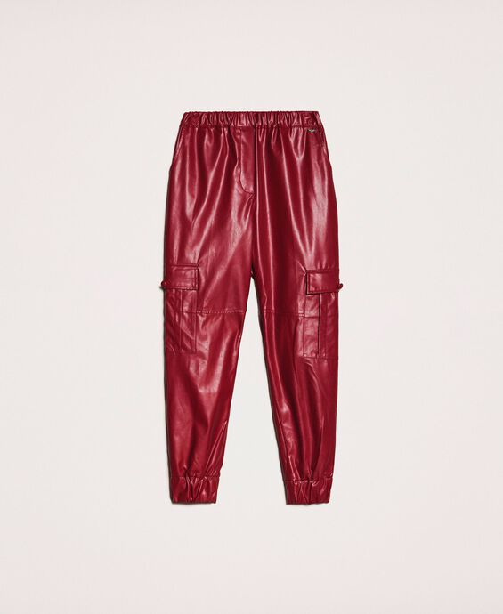 Faux leather combat trousers