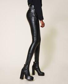 Bottines à plateforme en cuir Noir Femme 202TCP152-0S
