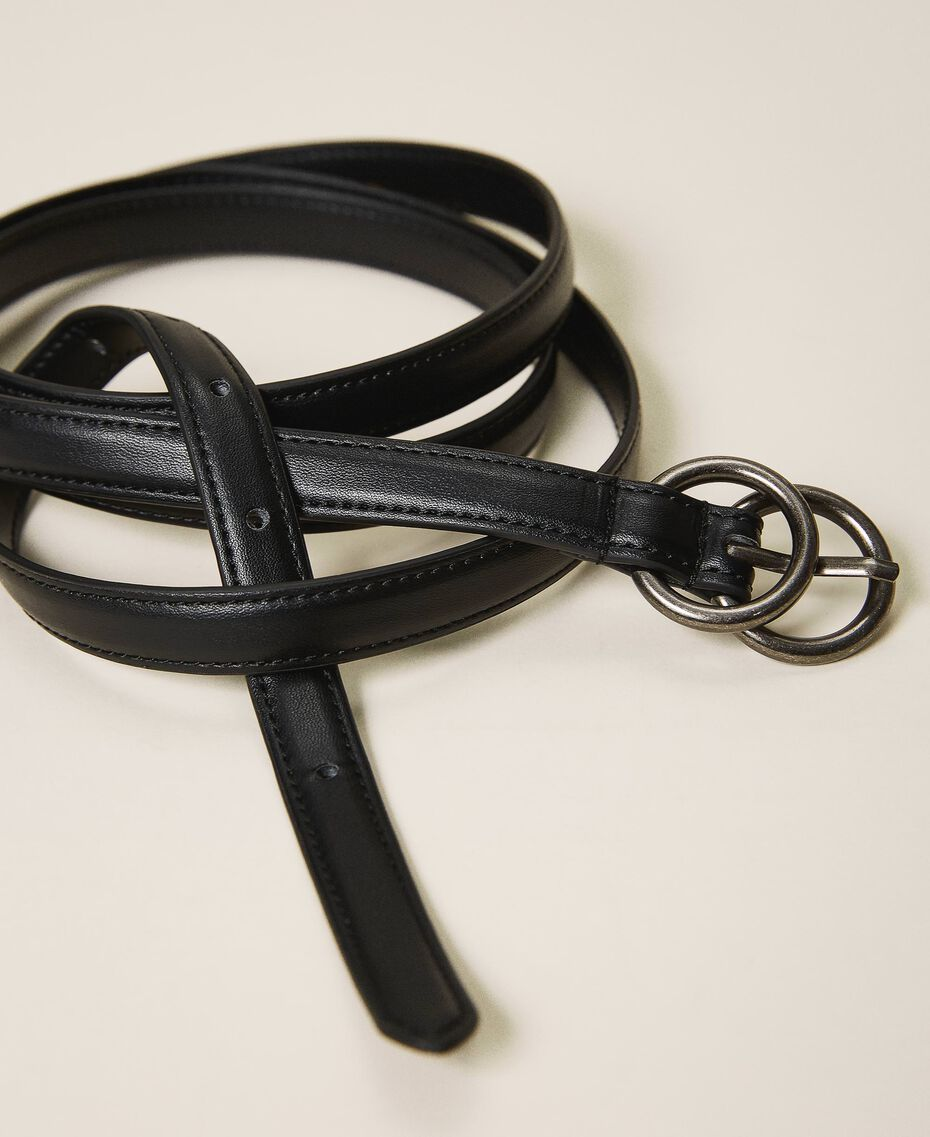 Faux leather belt Black Woman 202MA4353-01