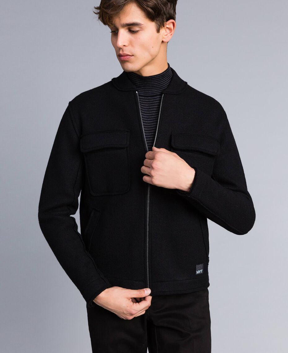Boiled wool bomber jacket Black Man UA83CB-02